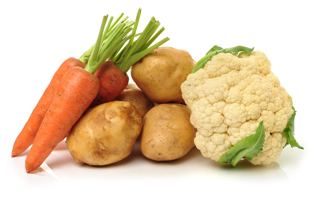 Potatoes and Vegetables with Red Pepper Dip